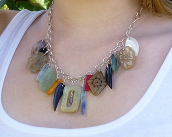 Semi Precious Stone Chunky Chain Necklace, Bib Necklace, Statement Necklace, Sterling Silver Chain Necklace, Zen Jewelry Statement Necklace