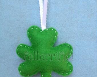 Set of  7 St. Patrick's Day Felt Shamrock Ornament