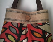 Birds and Leaves Handbag Tote with Jute Webbing and Coconut Button