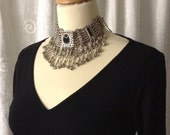 Amazing Choker / Necklace, silver tone, black inlay, hanging beads, adjustable, 70's replica, tribal, made in India, Greece