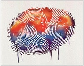 water colour print finger print map of the world. 11X14