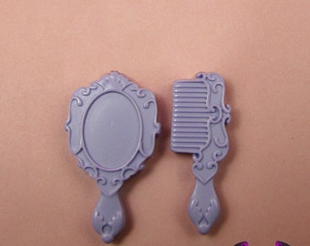 4 pcs LAVENDER PURPLE  Large Hair Brush and Mirror Set Resin Decoden Kawaii Flatback Cabochon