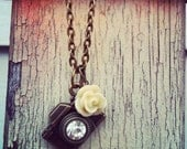photography NECKLACE ivory camera antique bronze chain photography photographer gift teal coral red black cream rose dahlia mum flower