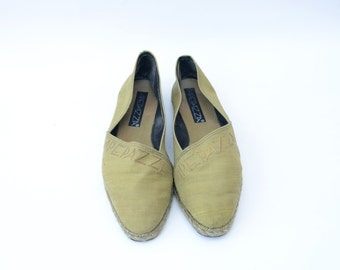 Vintage golden green 90s women espadrilles
