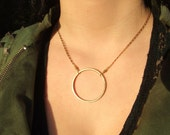 Circle Goddess Necklace--Solid Brass Karma Circle Symbolic Geometric Sacred Geometry Eternity Symbol