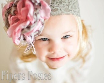 Reese-Vintage Brown and Pink Flower Headband