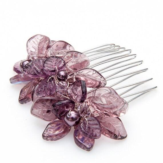 Purple Bridal Hair Comb, Wedding Hair Accessories, Floral Head Piece, Bridal Accessories, Rustic Wedding, Winter Wedding. Hair Jewelry