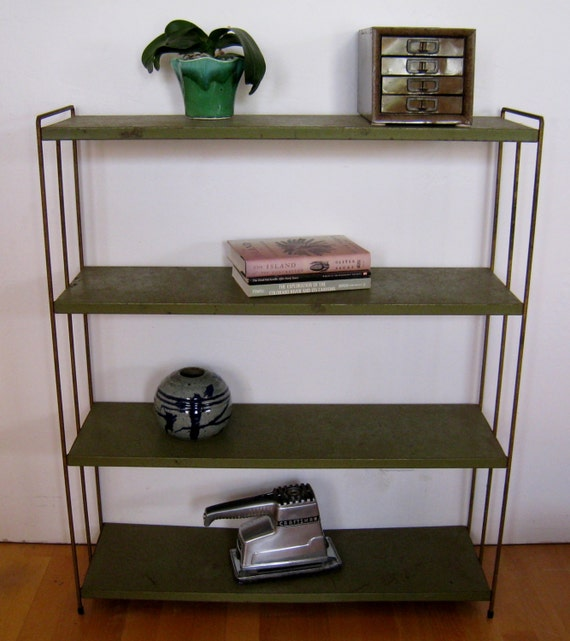 Mid Century modern metal bookcase vintage fifties industrial chic Knoll, Eames era