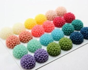 24 pcs Resin Flower Cabochons - 15mm Pompom Flowers - Matte Rainbow Mix (updated version)