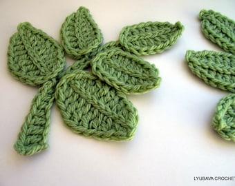 Crochet Leaf Branch PATTERN-Crochet Flower Applique-DIY Crafts-Crochet Leaves Tutorial-Instant Download PDF Pattern No.76 by Lyubava Crochet