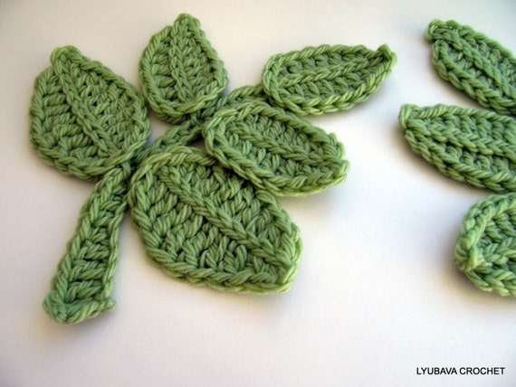 Crochet Leaf Branch PATTERN-Crochet Flower Applique-DIY