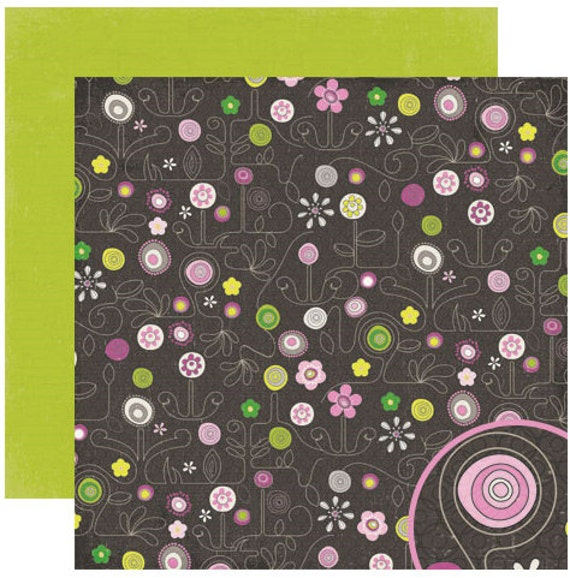 Scrapbook Paper Valentine Crate Bliss Collection Impulse Brown Pink Green 12x12 inches 4 sheets