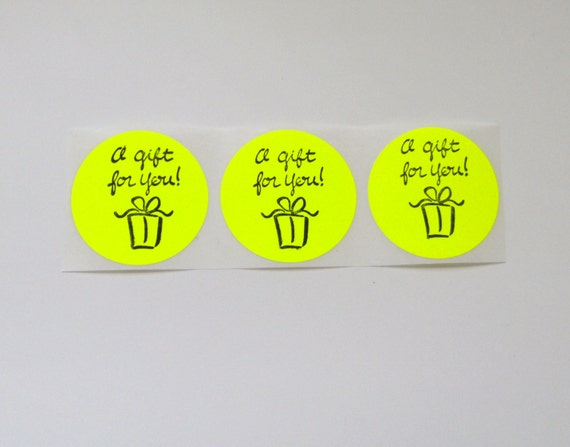 Yellow Gift for You Sticker Label Envelope Bag Seals Retail Packaging Set of 15