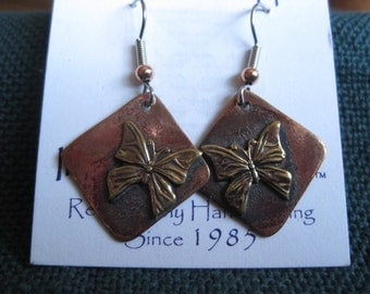 Earring, Butterfly on recycled copper French earwires