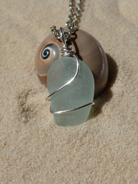 Pale blue wire wrapped sea glass necklace