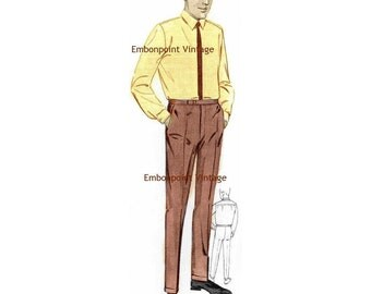 Plus Size (or any size) Vintage 1969 Mens Pants Pattern - PDF - Pattern No 95 Johnny Pants