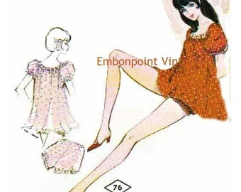 Plus Size (or any size) Vintage 1969 Pyjamas Pattern - PDF - Pattern No 76 Janine