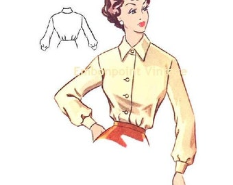 Plus Size (or any size) Vintage 1950s Blouse Pattern - PDF - Pattern No 101 Leslie