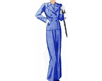 Plus Size Pattern (or any size) Vintage 1934 Skirt Suit - PDF - Pattern No 107 Earlene