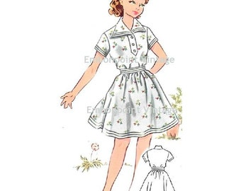 Plus Size (or any size) Vintage 1950s Dress Pattern - PDF - Pattern No 150 Rosemary