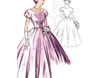 Plus Size (or any size) Vintage 1950s Bridesmaid Dress Pattern - PDF - Pattern No 116 Jeanne