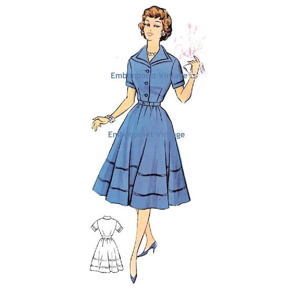 Plus Size (or any size) Vintage 1950s Dress Pattern - PDF - Pattern No 69 Rose