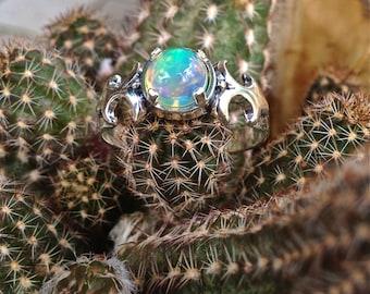 African Opal Fleur-De-Lis Sterling Silver Ring