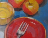 Apple Trio & Red Plate, Yellow Bowl, Original Oil Painting
