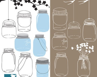 Vintage Mason Jars Digital Clipart, Wedding graphic, Ball Jars, Wedding Clip art - Scrapbooking, invitations, hand drawn - INSTANT DOWNLOAD
