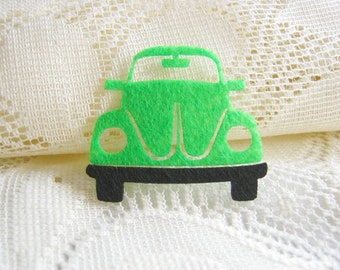 Iron on Applique Green Beetle, Iron Patches, Scrapbook, Vehicle, kid, woman, toy, baby, shirt, skirt, baby shower, felt applique, Car,  F2