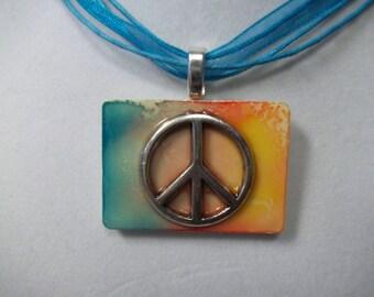 OOAK Tye Dye Peace Sign Necklace Repurposed Game Piece