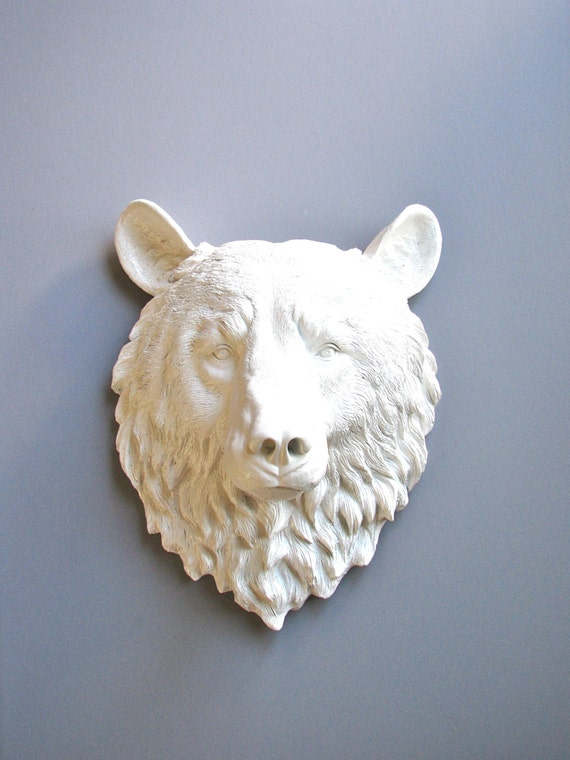Faux Taxidermy Large Bear Head Full Size Wall Mount 16 1/2 inches tall: Bob the Bear Head in WHITE / faux animal head / modern woodland /