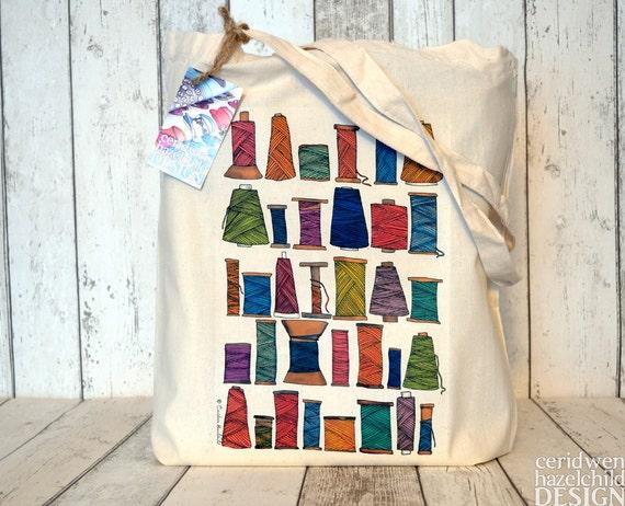 Sewing Thread Tote Bag, Ethically Produced Reusable Shopper Bag, Cotton Tote, Shopping Bag, Eco Tote Bag