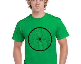 Bicycle T Shirt.  Bike Shirt. Bike Wheel T Shirt. Green. Hand Screen Printed