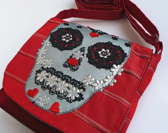 Skull Bag - Over the Shoulder Bag, Cross Body Messenger Bag.