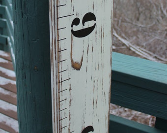 Children's Wooden Growth Chart Ruler For A Nursery, Baby Room Or Kids Room  - Weathered