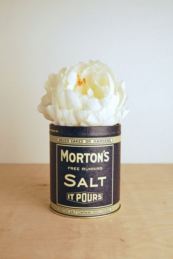 Vintage Morton Salt Can with Advertising - Metal Tin Canister