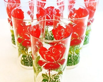 Vintage Glasses Set Of Six Red Roses Green Leaves Shabby Chic, Cottage Chic, Mid Century