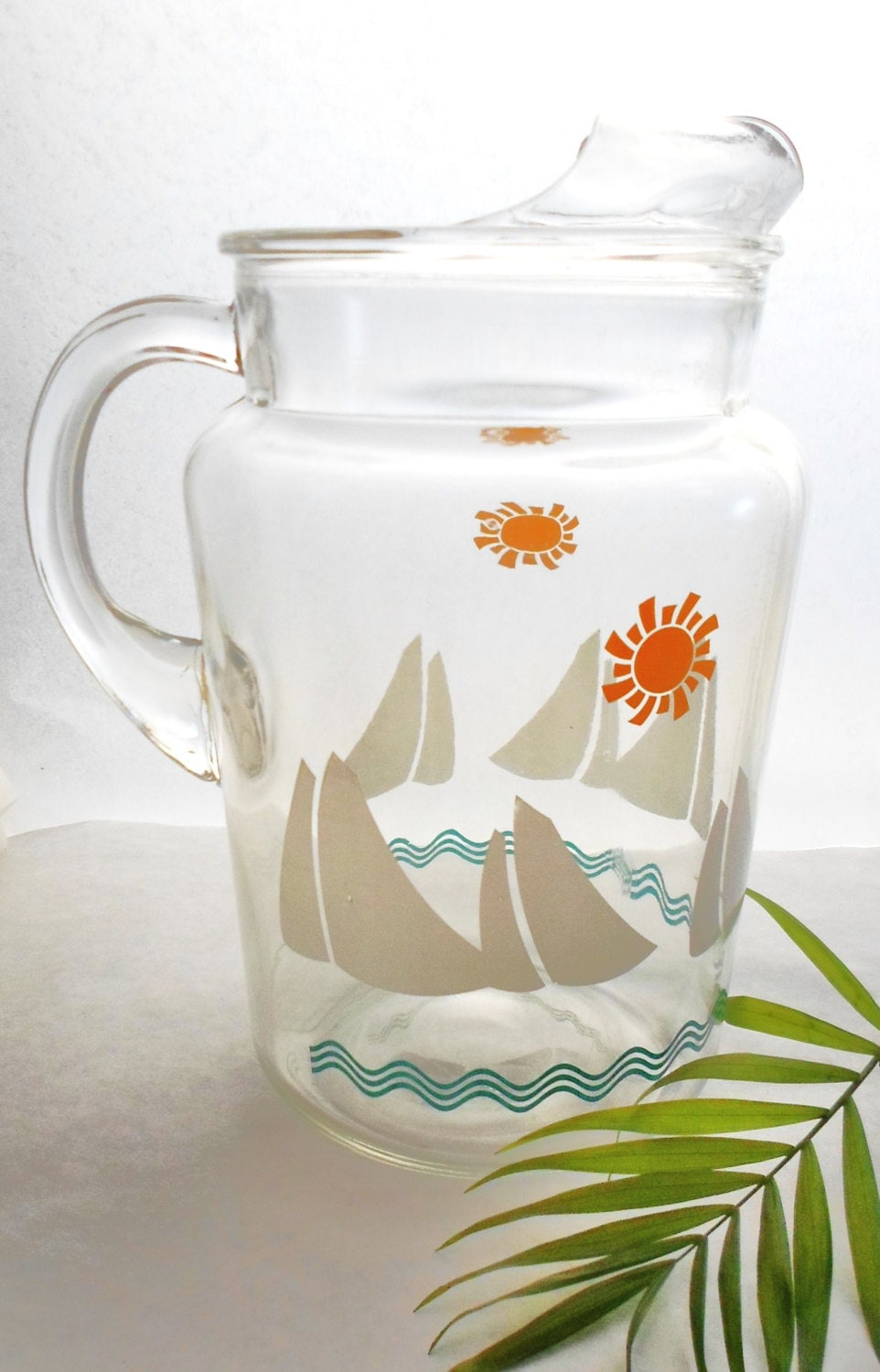 Vintage Clear Glass Pitcher With Sun And Sailboats Nautical