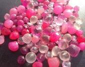 50% OFF SALE Valentines Day Pink Gemstone Briolette Sampler- Topaz, Sapphire, Cubic Zirconia, Chalcedony, Rose Quartz 10 Pieces 6-14mm