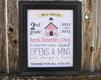 Teacher Appreciation Gift - Printable - Keepsake - PDF - Personalized - School House