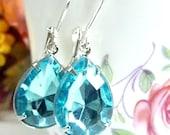 Aqua Earrings Aqua Blue Teardrop Aquamarine Drop March birthstone Vintage Estate Style Earrings