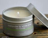 Coriander & White Lime Soy Candle Tin 4 oz. - coriander candle - lime candle - fresh scent candle - unisex candle - spicy candle