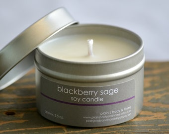 SALE - Blackberry Sage Soy Candle Tin 4 oz. - blackberry candle - sage candle - musk candle - fall candle - fresh scent candle