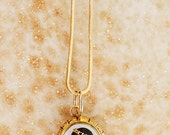 Antique Necklace - Antique Gold, Diamond and Black Onyx Cameo Pendant
