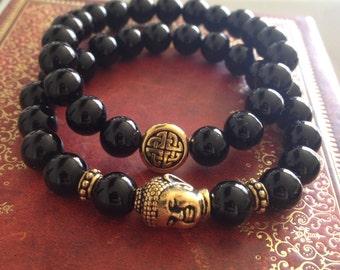 Genuine Black Onyx Buddha & Endless Knot Stretchy Bracelet - sizes available