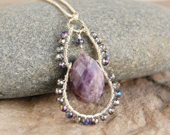 Amethyst Teardrop Sterling Silver Wire Wrapped Pendant - February Birthstone Necklace