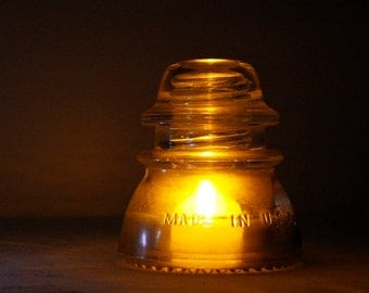 Upcycled Light Blue Glass Electric Insulator Lamp with LED Tea Light