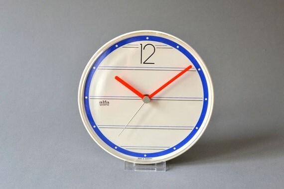 vintage wall clock west german 90s white red blue alfa kienzle