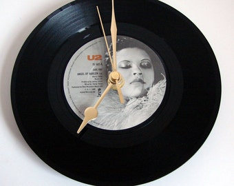 "U2 Vinyl Record CLOCK ""Angel of Harlem"" recycled 7"" single great gift for rocker girl rock chick native New Yorker"